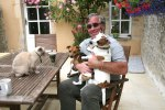 Mark with Mr Willerby, Madge & Harriett the 16 year old Burmese